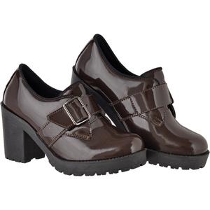 Oxford feminino tratorado CRshoes verniz cafe - CRSHOES