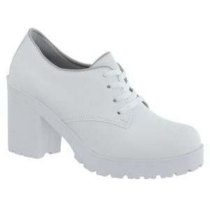 Oxford feminino tratorado CRshoes Branco Fosco - CRSHOES