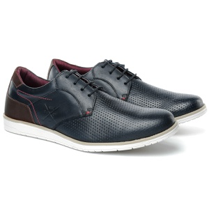 Sapato Masculino Brogue Derby Comfort Marinho 605 - FrancaSapatos