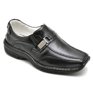 Sapato Casual Conforto Couro de Carneiro Preto 201 - FrancaSapatos