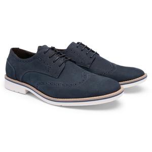 Sapato Casual Oxford Nobuck Marinho 621 - FrancaSapatos