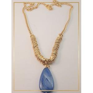 Colar Folheado Ouro 18k Madre Pérola Azul - 447 - MARINA JOIAS