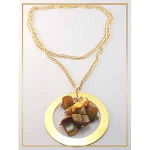 Colar folheado ouro 18k Cascalhos Marrom - 477 - MARINA JOIAS