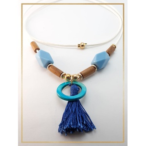 Colar couro camurça 90 cm Branco Resina Azul - 467 - MARINA JOIAS