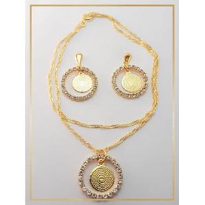 Conjunto folheado a Ouro 18k Medalhao - 47 - MARINA JOIAS