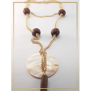 Colar folheado ouro 18k MadrePerola Madeira - 481 - MARINA JOIAS