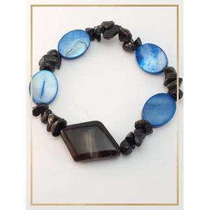 Pulseira cascalhos pedras naturais Ágata negra & S... - MARINA JOIAS