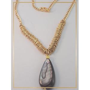 Colar Folheado Ouro 18k Madre Pérola Nublado - 445 - MARINA JOIAS