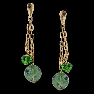 Brinco folheado à ouro 18k Gorgeous Green - 2193 - MARINA JOIAS