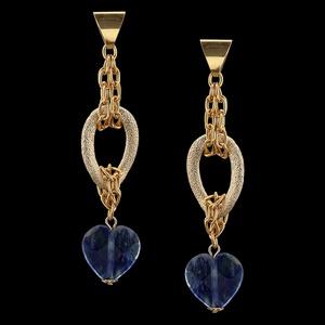 Brinco folheado à ouro 18k Gorgeous Blue - 2194 - MARINA JOIAS