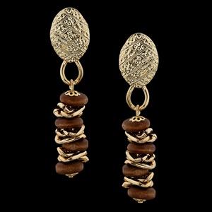 Brinco folheado à ouro 18k Madeira - 2195 - MARINA JOIAS