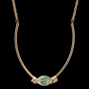 Gargantilha de Aro com Pedra Natural Fashion Green... - MARINA JOIAS