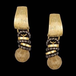 Brinco folheado em ouro 18k rutilo - 1027 - MARINA JOIAS