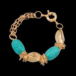 Pulseira folheada a ouro,com pedra natural turques... - MARINA JOIAS