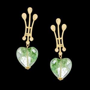 Brinco folheado à ouro 18k com fashion green coraç... - MARINA JOIAS