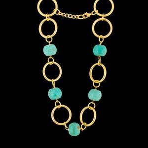 Colar Folheado à Ouro 18k Turquesa Azul - 74 - MARINA JOIAS