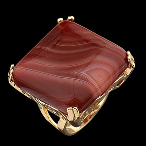 Anel Folheado a Ouro com Pedra Natural Quadrado - ... - MARINA JOIAS