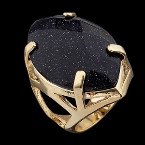 Anel Folehado à Ouro com Pedra Natural Navete - 34... - MARINA JOIAS