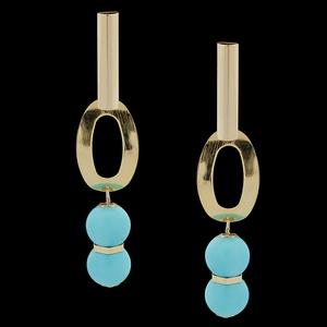 Brinco folheado à ouro 18k Azul Celeste - 1650 - MARINA JOIAS