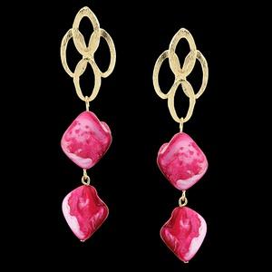 Brinco Folheado à Ouro 18k Rosa Pink - 1778 - MARINA JOIAS