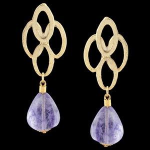 Brinco Folheado à Ouro 18k Quartzo Violeta - 1831 - MARINA JOIAS