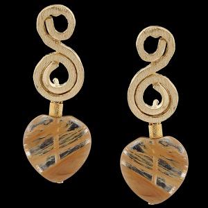 Brinco folheado à Ouro 18k cristal rutilado - 1889 - MARINA JOIAS