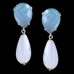 Brinco folheado à ouro 18k Blue Cristal - 1320 - MARINA JOIAS