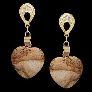 Brinco folheado à ouro 18k amor de madeira - 1277 - MARINA JOIAS