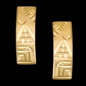 Brinco Folheado à Ouro Diamantado Egito - 932 - MARINA JOIAS