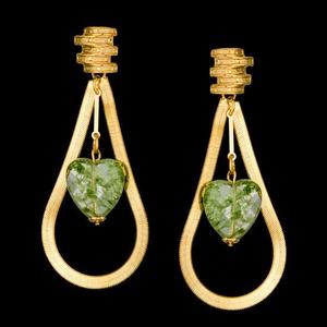 Brinco folheado à ouro 18k fashion green - 988 - MARINA JOIAS