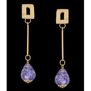 Brinco folheado à ouro 18k fio fashion - 1053 - MARINA JOIAS