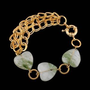 Pulseira folheada a ouro, com pedra natural - 394 - MARINA JOIAS
