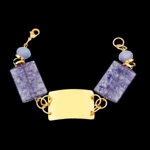 Pulseira folheada a ouro,com pedra natural - 409 - MARINA JOIAS