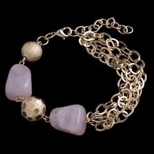 Pulseira folheada com pedra natural,quartzo rosa -... - MARINA JOIAS
