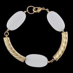 Pulseira Folheada à Ouro com Pedra Branca - 621 - MARINA JOIAS