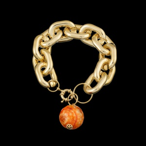 Pulseira folheada a ouro,com pedra natural ágata -... - MARINA JOIAS