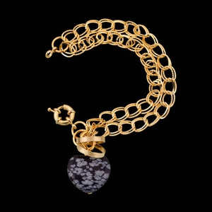 Pulseira folheada a ouro,com pedra natural - 391 - MARINA JOIAS