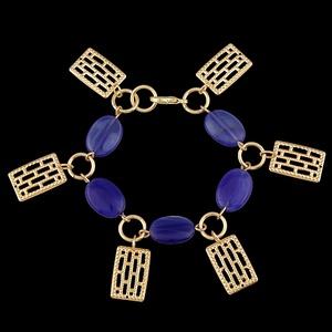 Pulseira Folheada à Ouro com Pedra Lazuli - 568 - MARINA JOIAS