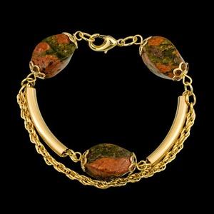 Pulseira folheada a ouro com pedra natural - 373 - MARINA JOIAS