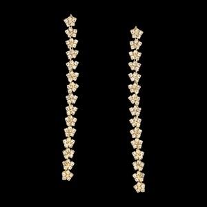Brinco folheado à ouro 18k Strass Flores - 884 - MARINA JOIAS
