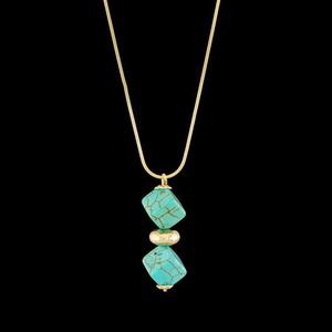 Colar folheado à ouro 18k azul turquesa - 70 - MARINA JOIAS
