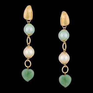 Brinco folheado a ouro 18k pérola com quartzo verd... - MARINA JOIAS