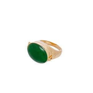 Anel Relicário Secret Jade Verde Dourado | Coleção... - SANTONINA JOIAS