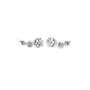 Brinco Ear Cuff Em Prata 925 Oxidada - Flowers | C... - SANTONINA JOIAS