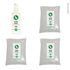 Kit 1un Álcool gel 250g c/dosador + 3un Álcool gel Refil 250g sache