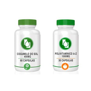 Kit Cogumelo do Sol 400mg + Polivitamínico A-Z