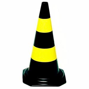 Cone Sinalização Amarelo E Preto 50cm Plastcor - Só Aqui Ferramentas