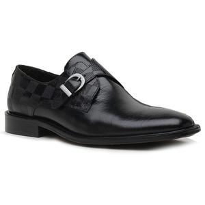 Sapato Social Xadrez Premium em Couro Preto - 322... - TCHWM SHOES