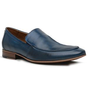 Sapato Loafer Casual Premium em Couro Azul - 58854... - TCHWM SHOES