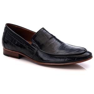 Sapato Loafer Croco Premium em Couro Preto - 58854... - TCHWM SHOES